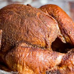 Free up the oven and smoked a turkey on the grill! Everything you need to know about smoking a turkey plus a savory smoked turkey rub recipe. Dry Rub Recipes, Smoked Meat Recipes, Turkey Recipes, Chicken Recipes, Smoked Turkey Wings, Bbq Turkey, Oven Roasted Turkey, Grilled Turkey, Grilled Meat