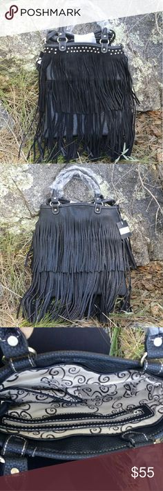 """Boho Fringe Galore Purse Hip Finger handbag. Suede fringe on front, with textured fringe on back. Studs accent across the top front.  Suede & faux leather. 13"""" tall, 11"""" wide, 3/4"""" deep. 16"""" handles, 51"""" adjustable shoulder strap. Zipper pocket on inside back, 2 open pockets on inside front. Also available in Brown in another listing. Cleto  Bags Crossbody Bags"""
