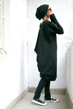 Oversize Black Loose Casual Top / Asymmetric Raglan Long Sleeves Tunic Knit Top / Maxi Blouse Turtle neck Tunic A02059