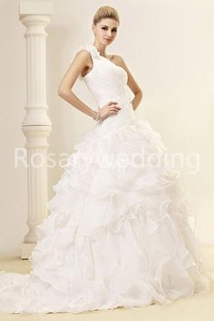 One shoulder flower organza wedding dress. $239.00, via Etsy.