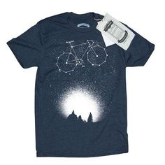 Bicycle in the Night Sky TShirt Mens Fixie by HouseBrokenClothing, $24.95