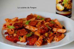 Penne, chorizo, courgette et fanes de betteraves rouges