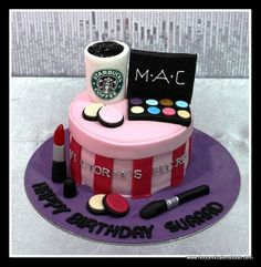 THIS is Chessie's life in a cake! Cheetah Birthday Cakes, 10 Birthday Cake, Girly Cakes, Cute Cakes, Fondant Cakes, Cupcake Cakes, Cosmetology Cake, Victoria Secret Cake, Mac Cake