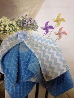 Handmade Chevron Baby BlanketBlue Minky by DarlenesNeedlesnPins
