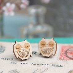 Laser Cut Wooden Owl Stud Earrings