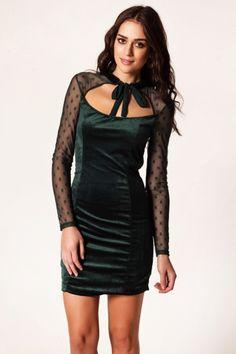 Vero Moda Stina Tül Detaylı Kadife Elbise 1