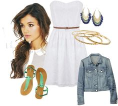 white dress with a jean jacket., created by pchelsea on Polyvore