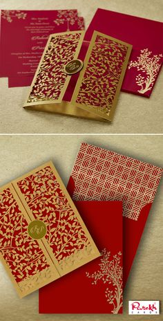 The invitation card is made out of high quality Red paper board with matching ma. Indian Wedding Invitation Cards, Hindu Wedding Cards, Mountain Wedding Invitations, Creative Wedding Invitations, Wedding Card Format, Card Box Wedding, Wedding Card Design Indian, Paper Board, Red Paper