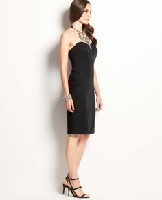 Jeweled Necklace Halter Dress | Ann Taylor