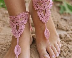 Mexicana Barefoot Sandals Size 11 Gypsy Fiesta Gift For Her Beach Foot Jewelry, Beach Wedding Shoes, Crochet Barefoot Sandals, Rainbow Shoes, Beach Anklets, Seasonal Allergies, Small Faces, Soft And Gentle, Bare Foot Sandals