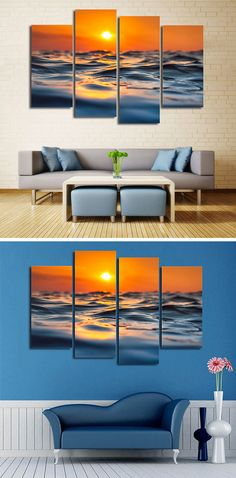 Sunset Ocean Print canvas painting.Before we ship your order, we have to prepare your products, perform strict quality-control tests and package items carefully.