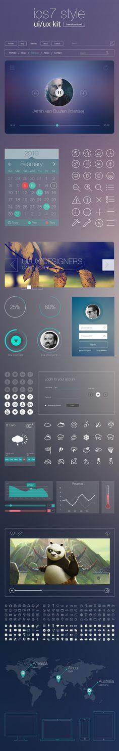 iOS7 style UI Kit : Freebie -Mahmoud FahimandMohamed Marakshy.http://graphicdesignjunction.com/2013/10/ios7-uiux-kit/