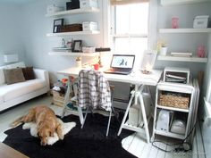 Room Inspiration Office & Guest Room. I want that white desk and white shelves