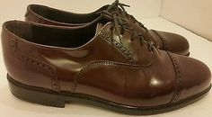 Nunn Bush Men's Size 11 W Brown leather Oxford lace up loafers cap toe shoes