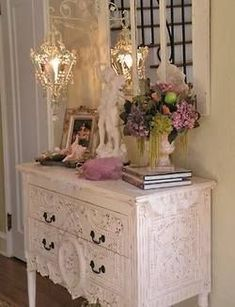 Romantic Cottage. I'd like to stencil a design like this on my white dresser