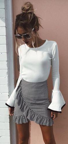 White Bell Sleeve Top + Striped Ruffle Wrap Skirt #dresses#style#borntowear