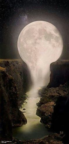 Moon over Waterfall - Gorgeous ! It looks like the moon is melting into the waterfalls. Pretty Pictures, Cool Photos, Amazing Photos, Pretty Images, Funny Photos, Beautiful World, Beautiful Places, Beautiful Beautiful, Beautiful Scenery