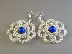 SALE 50 OFF  Flower crochet wire dangled earrings by dekkoline, $15.00