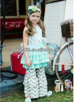 2014 Wholesale Chevron Hot Sale Spring Newest Cheap Toddler's latest baby girls clothing sets cute kids clothes outfit $4.5~$8