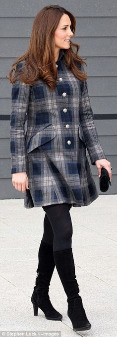 The duchess showed her usual tact in her outfit yesterday, giving a nod to her Scottish title as she wrapped up against the chill in a short tartan coat.  Known as the Countess of Strathearn when north of the border, Kate often pays tribute to the people of Scotland by wearing a flash of tartan.