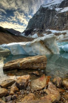 Angel Glacier processed with Photomatix, Viveza, and Aperture. That is Mount Edith Cavell in the background. by Michael James Beautiful Sites, Beautiful Places In The World, Great Places, Places To See, American National Parks, Jasper National Park, Vacations To Go, Paradise On Earth, Local Attractions