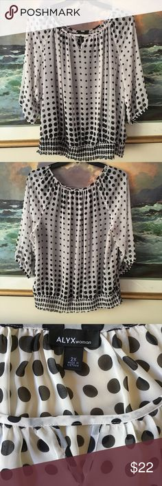 """Alyx Woman Polka Dot Blouse Alyx Woman polka dot blouse. Size : 2x. Worn once and washed. Excellent condition. 3/4 sleeves. Lined. Elastic waistband. Measurements approximately: Armpit to armpit: 27"""". Sleeve length: 20"""". Length: 26"""". Reasonable offers welcome. Smoke free and pet free home. Alyx Woman Tops Blouses"""