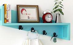 Home Sparkle Blue Mango Wood Wall Shelf With Key Holder…