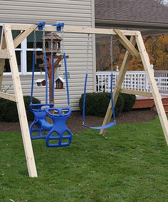 Loving this Blue Unfinished Swing Set on #zulily! #zulilyfinds