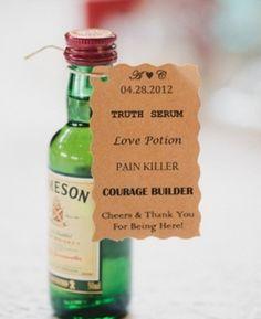 Great idea to personalize mini liquor bottles