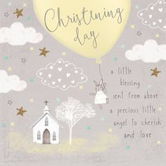 Christening Card. This greetings card is hand-finished with flitter and gems. The card size is 6 x 6 inches, comes with a white envelope and is left blank for your message.