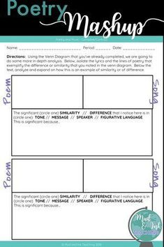 Poetry Mashup — Mud and Ink Teaching Middle School Ela, Middle School English, Teaching Poetry, Teaching Reading, Teaching Art, Poetry Lessons, Art Lessons, Teacher Resources, Teaching Ideas