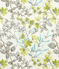 Braemore Gazebo Cloud Fabric. Blue / turquoise, grey and green floral fabric.