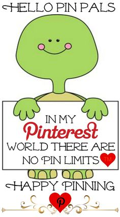 Hello pin pals... In my Pinterest world there are No Pin Limits <3 Happy Pinning Tam <3