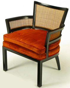 Pair Baker Ebonized Mahogany & Cane Button Tufted Arm Chairs | From a unique collection of antique and modern lounge chairs at http://www.1stdibs.com/furniture/seating/lounge-chairs/