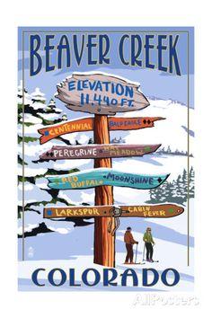 Beaver Creek, Colorado - Ski Signpost Print at AllPosters.com