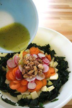 Massaged Kale Salad with Radish and Apple | De Ma Cuisine