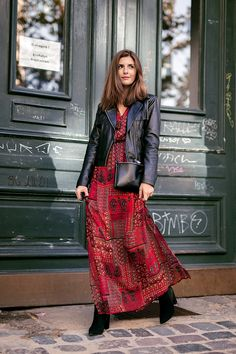 closet ideas fashion outfit style apparel Maxi Dress and black leather Jacket Fall Outfits 2019 15 Early Fall Outfit Ideas to Wear for Your Next Event - Pretty Designs Maxi Outfits, Winter Dress Outfits, Casual Outfits, Fashion Outfits, Winter Maxi Dresses, Red Dress Outfit Casual, Womens Fashion, Summer Outfits, Glam Dresses