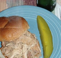 Crock Pot Shredded Turkey from Food.com:   								This EASY shredded turkey recipe is great on good quality, buttery sandwich rolls. I know, it sounds weird, but trust me, its wonderful! Just an FYI - it makes a lot and freezes perfectly!