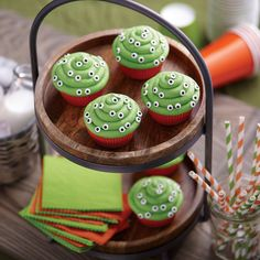 Mini Eyeball Cupcakes from @michaelsstores.  Halloween cupcakes that stare back at family and friends add fun to the holiday. Simple to make with Wilton® Baking Cups and Wilton Mini Eyeballs Icing Decorations.