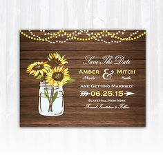 Sunflower Save The Date Magnet or Card DIY PRINTABLE Digital File or Print (extra) Country Save The Date Wood Save The Date String Lights by TreasuredMomentsCard on Etsy https://www.etsy.com/listing/220390845/sunflower-save-the-date-magnet-or-card
