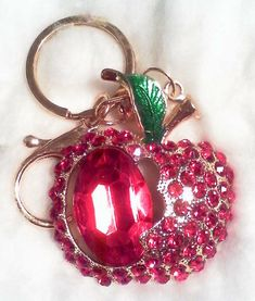 Red Apple Rhinestone Key ring New Free Delivery Red Jewel, Red Apple, Key Rings, Free Delivery, Jewelery, Hoop Earrings, Red Perfume, Ebay, Key Chain