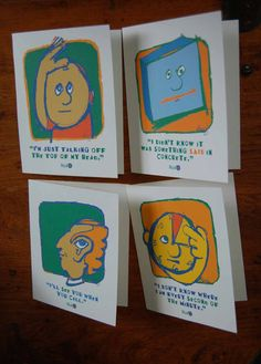 unique funky wacky whimsical Note Cards with funny by HUHzzz