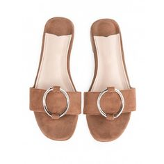 Brown suede ring slide sandals found on Polyvore featuring shoes, sandals, suede sandals, brown shoes, slide sandals, flat slide sandals and synthetic shoes