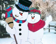 Christmas Outdoor Snowman Couple Wood Yard Art; Lawn Ornament; Christmas Decor; Snowman