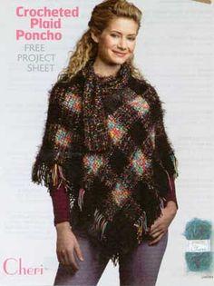 Crocheted Plaid Poncho LM0160 | Free Patterns