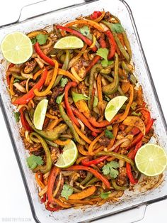 """These Easy Oven Fajitas are a simple """"set it and forget it"""" way to get that smoky sweet flavor of traditional griddle fajitas. Step by step photos. Oven Fajitas, Easy Chicken Fajitas, Easy Oven Baked Chicken, Baked Fajitas, Fajita Seasoning Mix, Fajita Mix, Mexican Food Recipes, Dinner Recipes, Ethnic Recipes"""