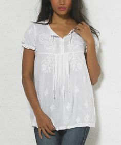 Coline USA White Embroidered Notch Neck Top - Women | zulily