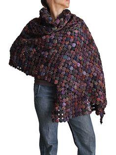 Vintage Mudmee Thai Silk Yo-Yo Quilt Shawl (TX-037-01, 65cm/200cm)