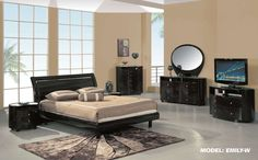Contemporary modern bedroom set w/ platform bed - Global furniture Emily w