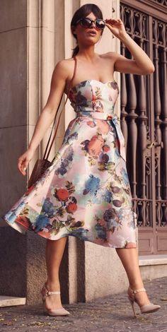 Feminine And Vintage Print Off Shoulder Dress